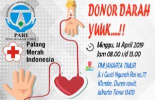 EVENT DONOR DARAH PARI PENGCAB JAKARTA TIMUR 14 APRIL 2019